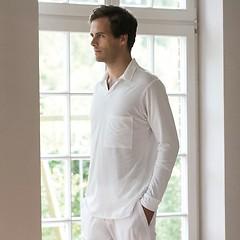 Sunday in Bed Pyjamashirt Morris Langarm Weiß