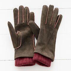 Damen Handschuh mit Stulpe aus Ziegenleder Braun/Bordeaux