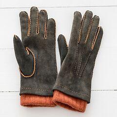 Damen Handschuh mit Stulpe aus Ziegenleder Grau/Orange