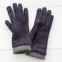 Damen Handschuh mit Stulpe aus Ziegenleder Lila/Grau