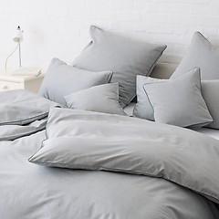 Torquato Bettbezug Herringbone 155 x 220 cm Grau mit Paspel