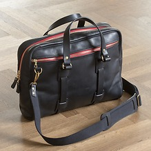 Croots Vintage Leather Laptop Bag Schwarz
