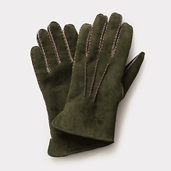 Herrenhandschuhe Curly Lammfell Grün/Beige mit Naht Multicolor