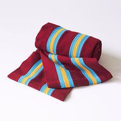 Englische College Schals Rot mit Grau-Gelben Streifen
