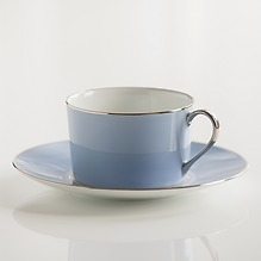 Porcelaine de Limoges Frühstückstasse mit Untertasse Eisblau