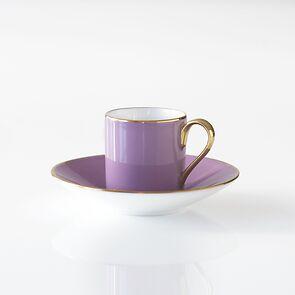 Porcelaine de Limoges Mokkatasse mit Untertasse Lila