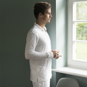 Sunday in Bed Pyjamashirt Morris Langarm Grau meliert L
