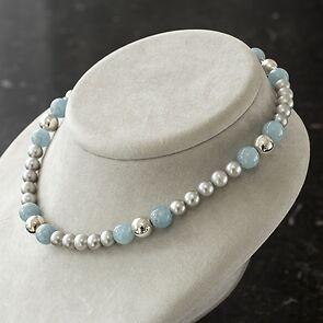 Gräfin Arnim Perlenkette Aquamarin