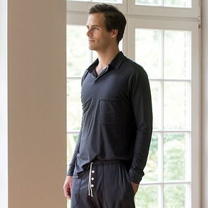 Sunday in Bed Pyjamashirt Morris Langarm Nearly Black M