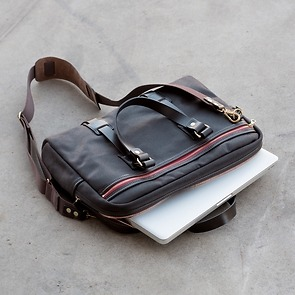 Croots Vintage Canvas Laptop Bag Brown