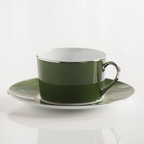 Porcelaine de Limoges Tasse mit Untertasse Empiregrün