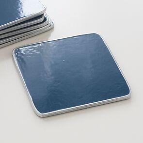 6 Untersetzer 10,5 x 10,5 cm Blue/Silver