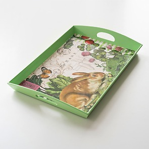 Decoupage Tablett Garden Bunny
