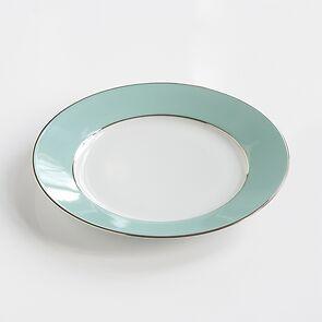 Porcelaine de Limoges Dessertteller Platindekor Mintgrün