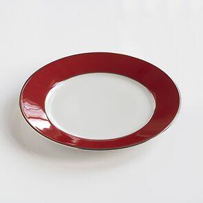Porcelaine de Limoges Dessertteller Platindekor Himbeerrot