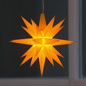 Kleiner Herrnhuter Stern aus Kunststoff Gelb (LED)