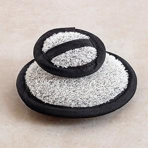 Leinen-Baumwoll-Waschpads Weiß/Schwarz