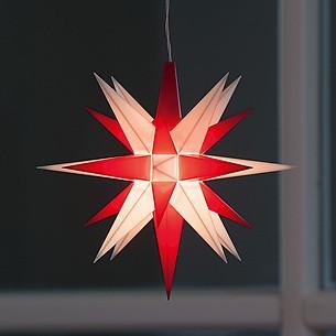 Kleiner Herrnhuter Stern aus Kunststoff Weiß/Rot  (LED)