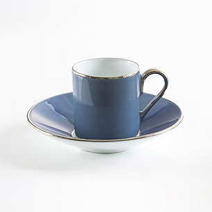 Porcelaine de Limoges Mokkatasse mit Platindekor Frz. Blau