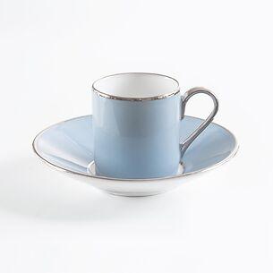 Porcelaine de Limoges Mokkatasse mit Platindekor Eisblau