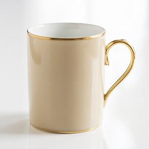 Porcelaine de Limoges Becher mit Golddekor Beige