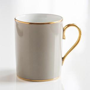 Porcelaine de Limoges Becher mit Golddekor Perlgrau