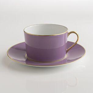 Porcelaine de Limoges Tasse mit Untertasse Lila