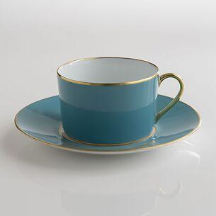 Porcelaine de Limoges Tasse mit Untertasse Türkis