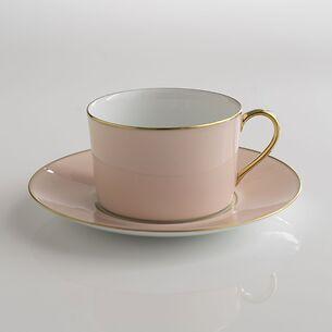 Porcelaine de Limoges Tasse mit Untertasse Rosa