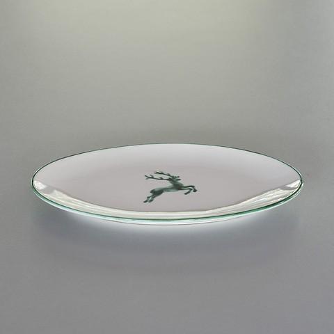Grüner Hirsch Ovale Platte 28 x 21 cm