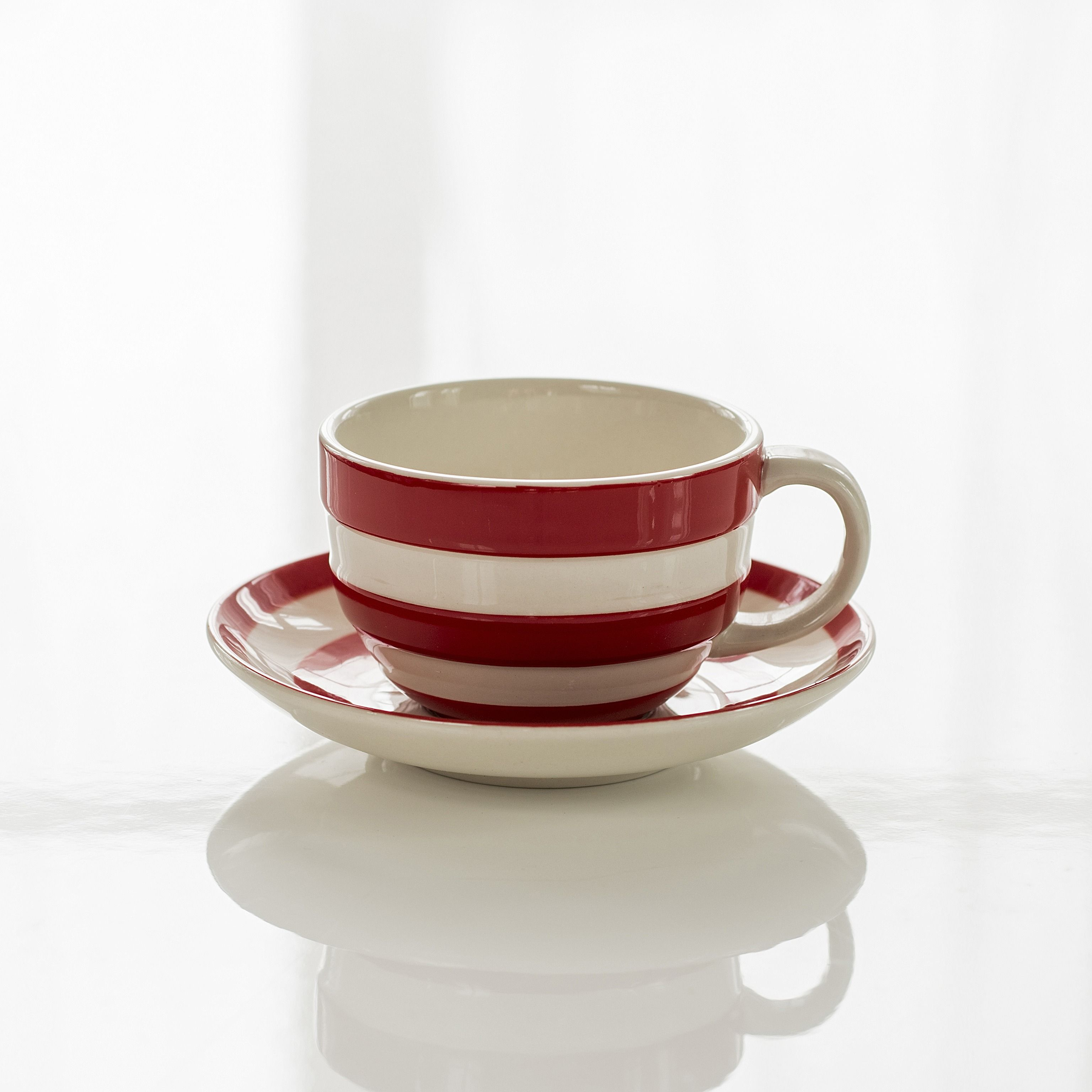 4 cappuccino tassen cornishware rot bei. Black Bedroom Furniture Sets. Home Design Ideas