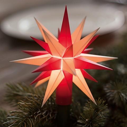 Herrnhuter Sternen-Lichterkette Rot/Weiß