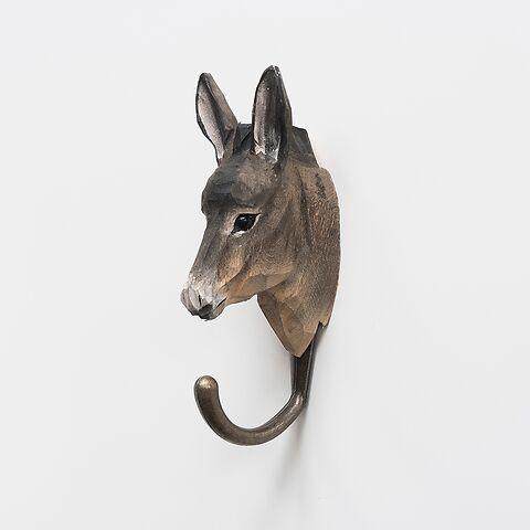 Handgeschnitzter Kleiderhaken Esel
