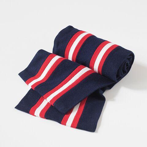 Englischer College Schal Blau mit Rot-Weißen Streifen