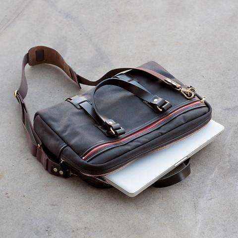 Croots Vintage Canvas Laptop Bag Brown