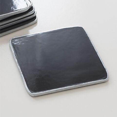 6 Untersetzer 10,5 x 10,5 cm Black/Silver