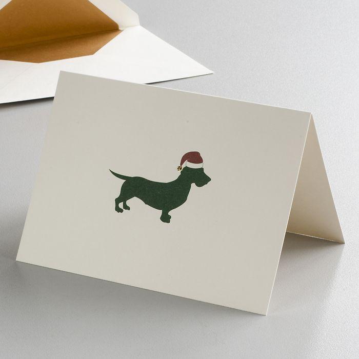 Klappkarte Weihnachtsdackel mit Glitzerbommel