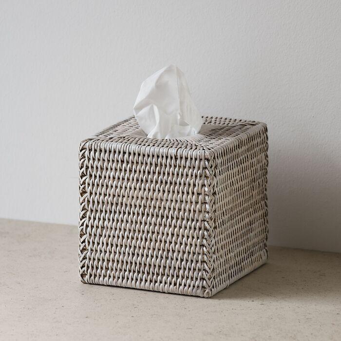 Kosmetiktuchbox quadratisch Rattangeflecht