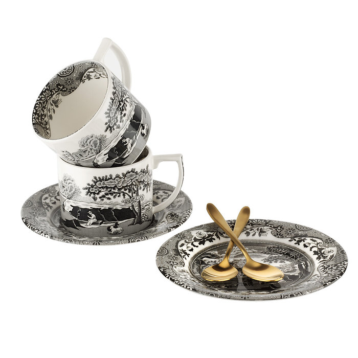 Spode Black Italian Teetassen-Set mit Untertasse und Löffel
